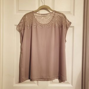 Maurices Taupe Cap Sleeve Lace Top Blouse